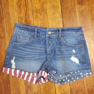 Mossimo USA Flag Shorts Distressed Size 4